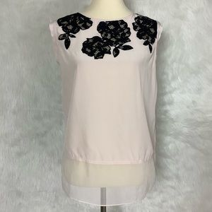 Rebecca Taylor Pink Silk Black Lace Applique Top